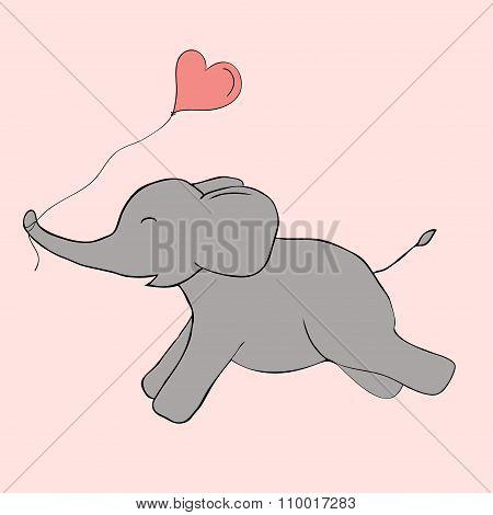 Cute Elephant Doodle. Vector Image