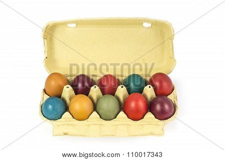 Easter eggs in cardboard