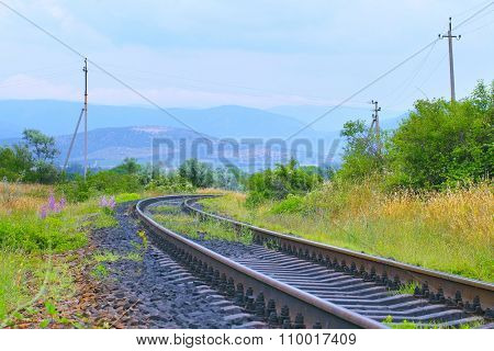 the image of view of the railroad tracks