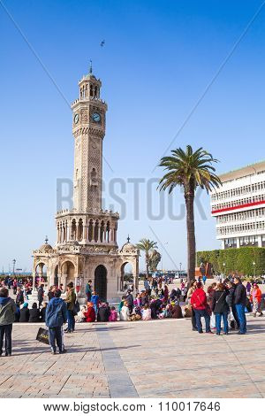Historical Clock Tower, Symbol Of Izmir City, Turkey