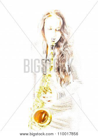 Overexposed Sax Lady