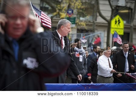 NEW YORK - NOV 25 2015: New York City Mayor Bill De Blasio marches in the annual Americas Parade up 5th Avenue on Veterans Day in Manhattan.