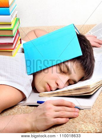 Teenager Sleep With The Books