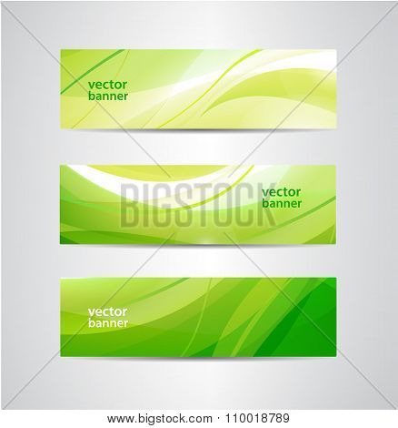 Vector set of green eco wavy banners