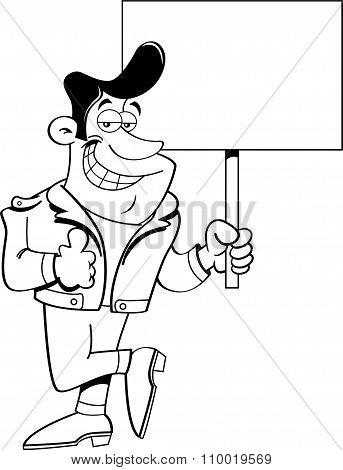Cartoon man giving thumbs up and holding  sign.