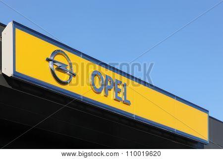 Opel logo on a wall