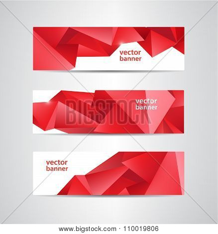 Set of vector abstract red crystal, faceted banners