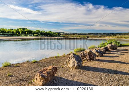 Boulders Line Shore Of Yampa River