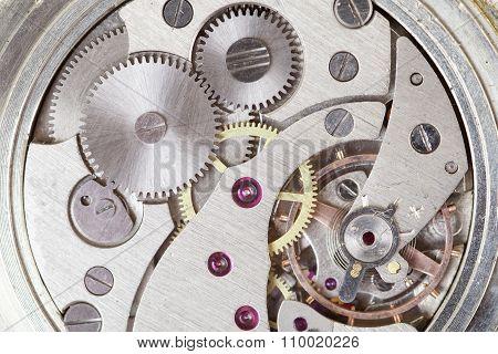 Clockwork Of Watch. Close Up
