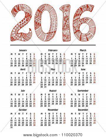 New Year calendar, 2016