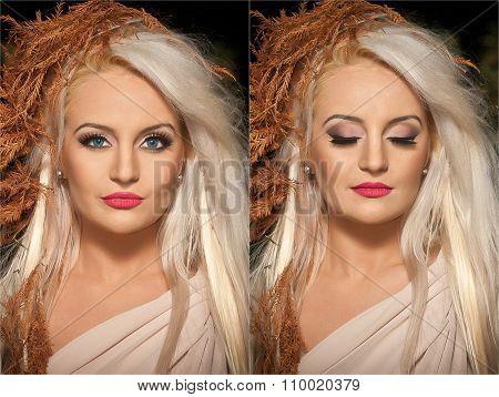 Closeup portrait of blonde woman with creative autumnal haircut, studio shot. Long fair hair girl