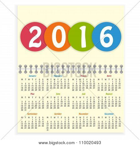Spiral 2016 calendar