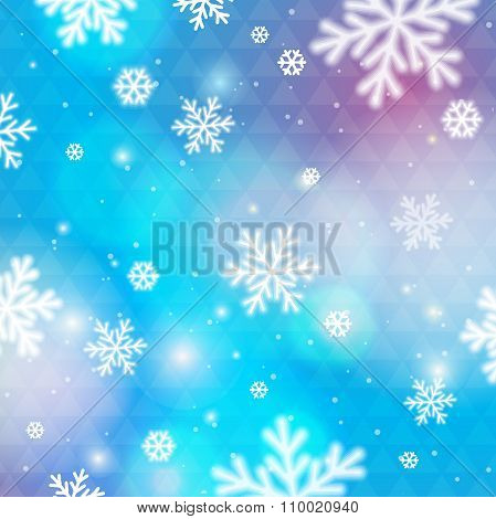 Blue Background With Bokeh And Blurred Snowflakes, Vector