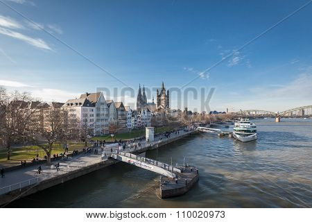 Cologne, Germany - March 7, 2015: Great St. Martin Church And Dom In Cologne At River Rhine.
