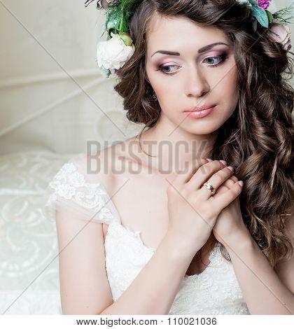 Portrait of beautiful bride brunette with  makeup