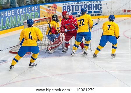 Teams of Russia and Sweden play in hockey