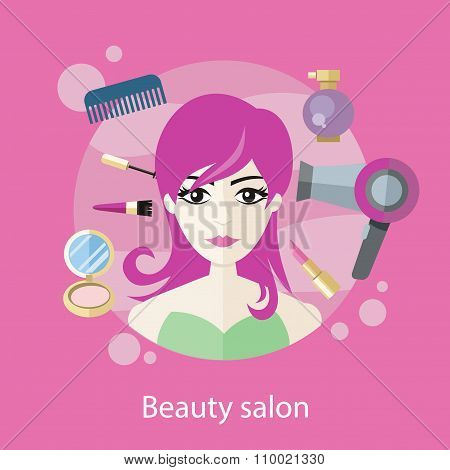 Beauty Salon Concept Flat Style Design