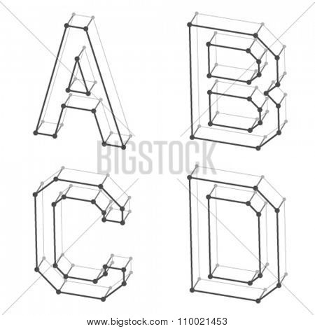 vector wireframe font alphabet letters A B C D