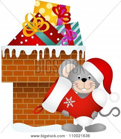Mouse holding Christmas stocking on chimney with gifts