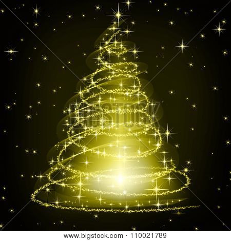 Christmas golden tree, beautiful snowflakes and shining stars