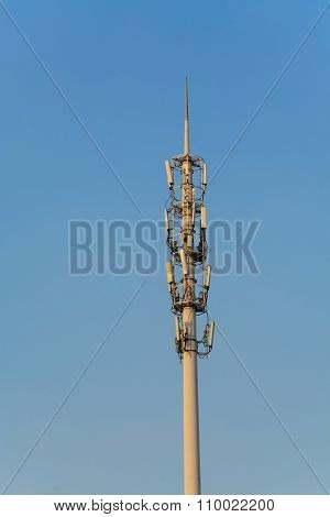 Antenna Tower Of Communication With Blue Sky