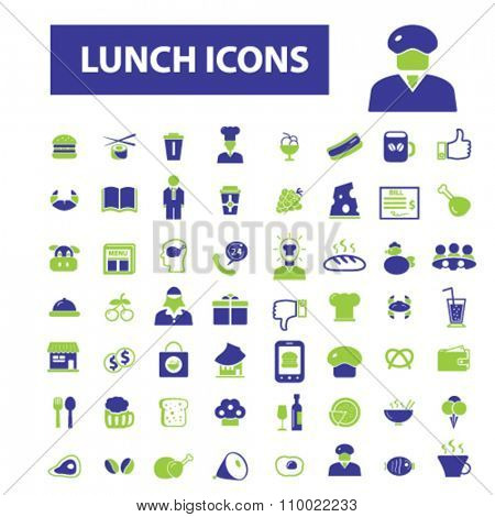 Lunch, restaurant  icons, signs vector concept set for infographics, mobile, website, application
