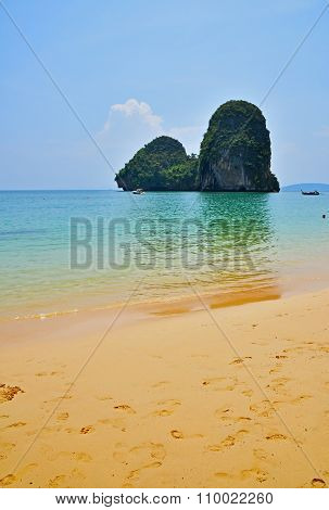 Paradise Tropical Sand Sea Beach With Rock