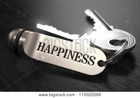 Keys to Happiness. Concept on Golden Keychain.