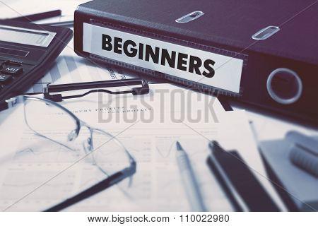 Beginners on Office Folder. Toned Image.