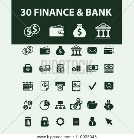 finance, bank, credit, savings, investment  icons, signs vector concept set for infographics, mobile, website, application