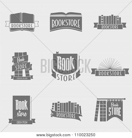 Set Of Vector Book Store Logo Design Concepts