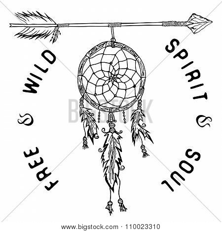 Dream Catcher And Arrow, Tribal Legend In Indian Style With Traditional Headgeer. Dreamcatcher With
