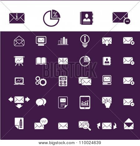 email, message, mail  icons, signs vector concept set for infographics, mobile, website, application