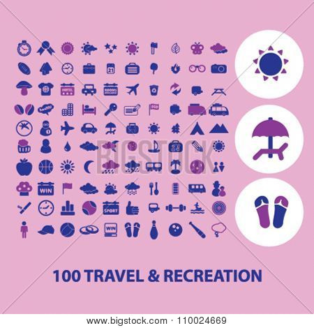 travel, vacation, tourism icons, signs vector concept set for infographics, mobile, website, application