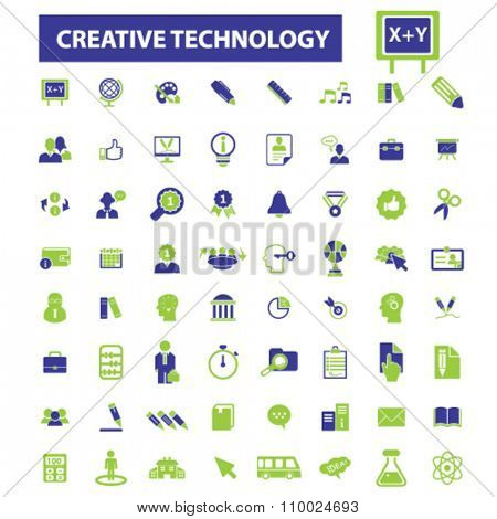 creative education, technology, learning, study, science, research  icons, signs vector concept set for infographics, mobile, website, application