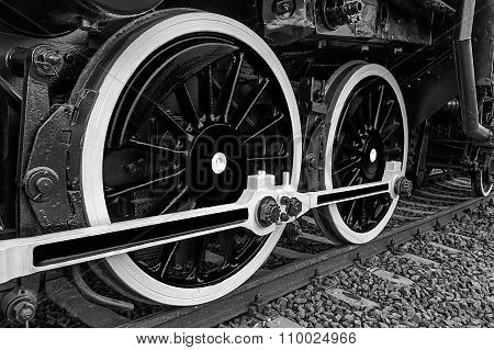 Black And White Detail And Close Up Of Huge Wheels At One Old Steam Locomotive 12