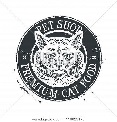 pet shop vector logo design template. food or cat, kitten icon