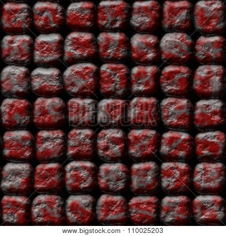 Decorative silver-red stones of different shapes - pattern