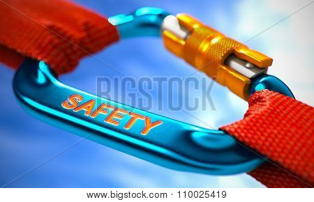 Blue Carabiner with Text Safety.