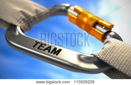 Chrome Carabiner with Text Team.