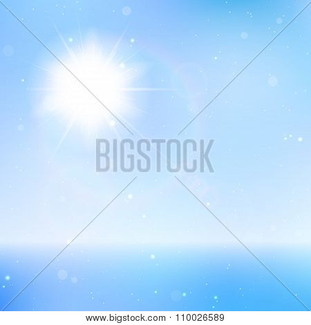 Abstract beautiful sea and sky background with sun halo. Vector illustration