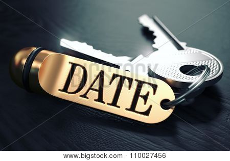 Keys with Word Date on Golden Label.