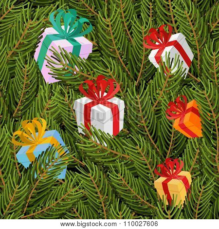 Spruce Twigs And Gifts Seamless Pattern. Christmas Tree And Festive Background Boxes. Texture For Wi