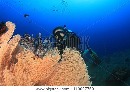 Young woman scuba diving on coral reef