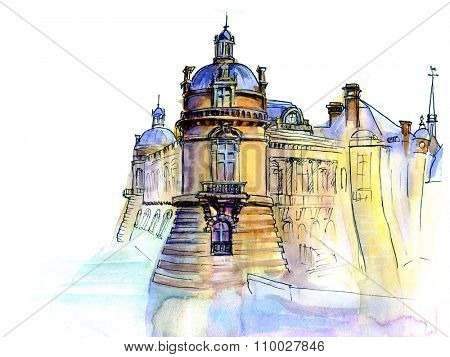 Hand made sketch of old French castle. Watercolor artwork.