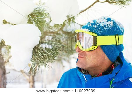 Sporty Man In Ski Goggles