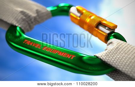 Green Carabine Hook with Text Travel Equipment.