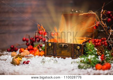 Christmas Winter Fairy With Light Miracle In Opened Chest. Background Of Mystery Gift New Year, Fir
