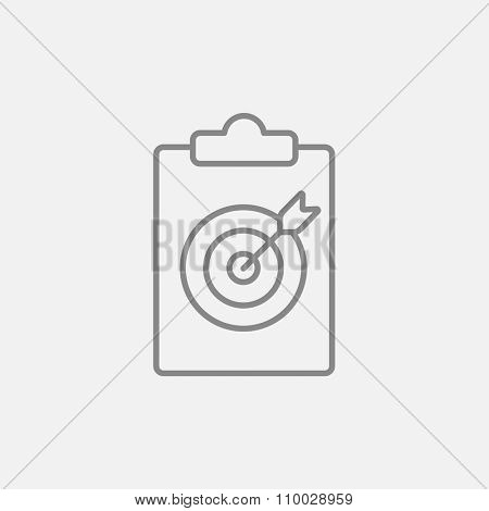 Target board and arrow line icon for web, mobile and infographics. Vector dark grey icon isolated on light grey background.