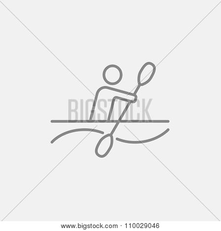 Man kayaking line icon for web, mobile and infographics. Vector dark grey icon isolated on light grey background.